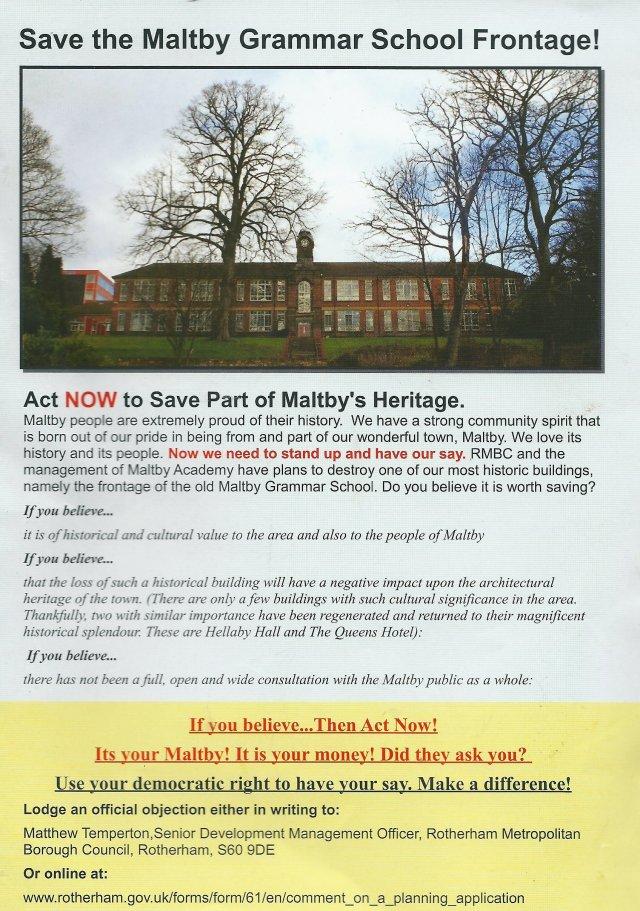 Save Maltby Grammar School Frontage